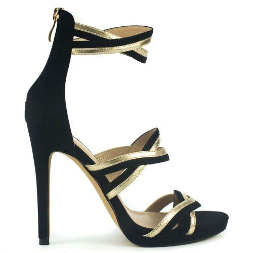 Black multistrap high heel sandal