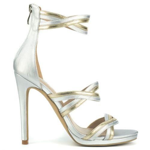 Silver multistrap high heel sandal