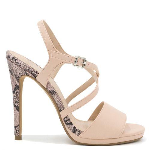 Beige snakeskin high heel sandal