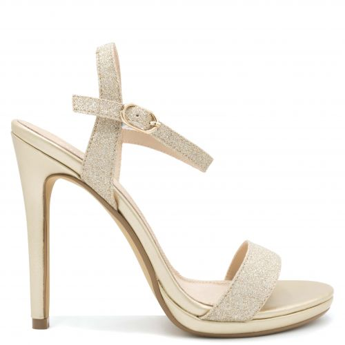 Gold high heel sandal with glitter