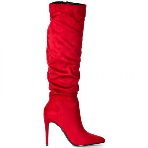 Κόκκινη σούεντ μπότα