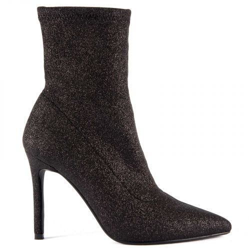 Black elastic high heel bootie