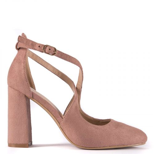 Pink crossed straps pump