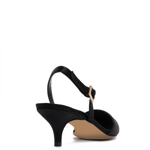 Black satin kitten heel slingback
