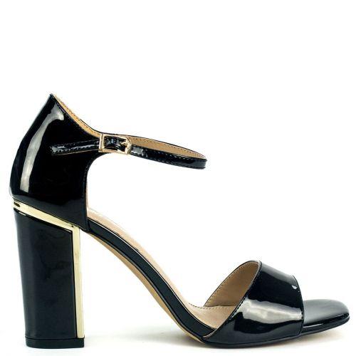 Black high heel sandal in patent