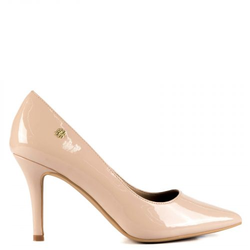 Pointy pump in nude patent