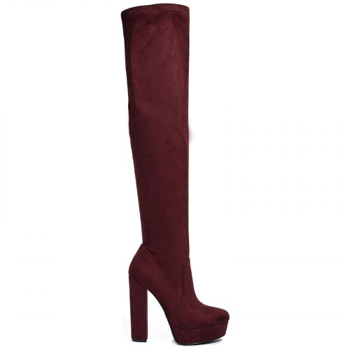Dark red suede over the knee boot