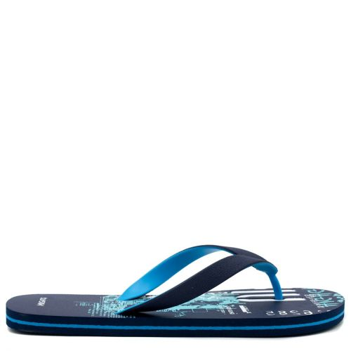 Men's navy flip-flop with 2-coloured thong and embossed design