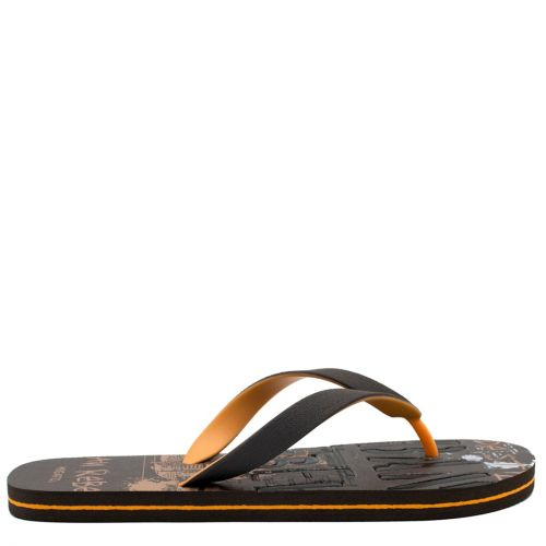 Men's brown flip-flop with 2-coloured thong and embossed design