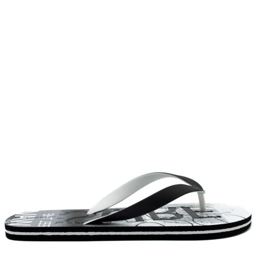 Men's black flip-flop with 2-coloured thong and embossed design