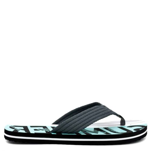 Men's grey flip-flop with fabric thong and embossed design
