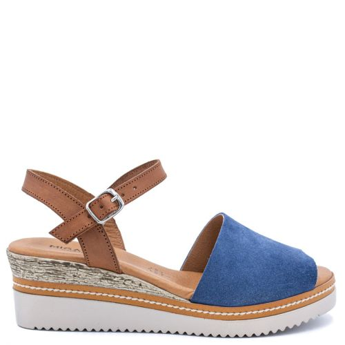 Dark blue leather wedge
