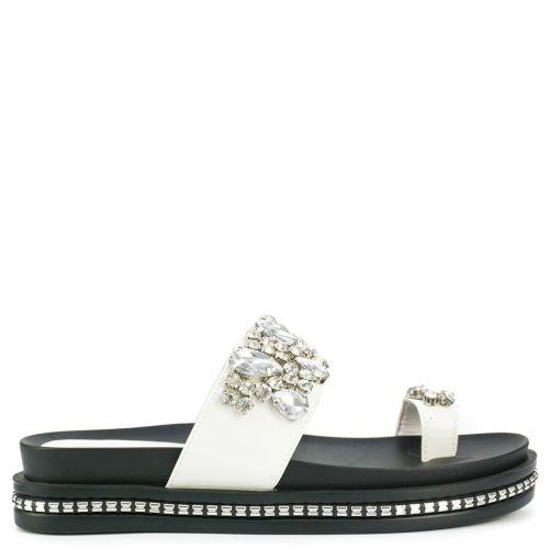 White slide sandal with stones