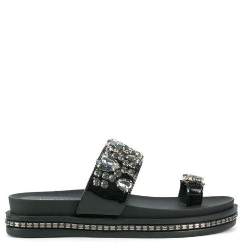 Black slide sandal with stones