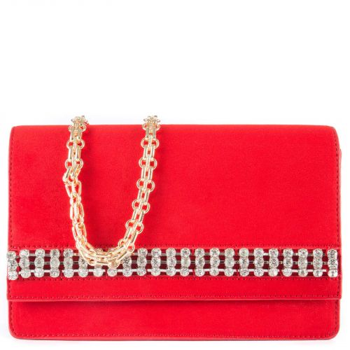 Κόκκινη τσάντα ώμου με στρας