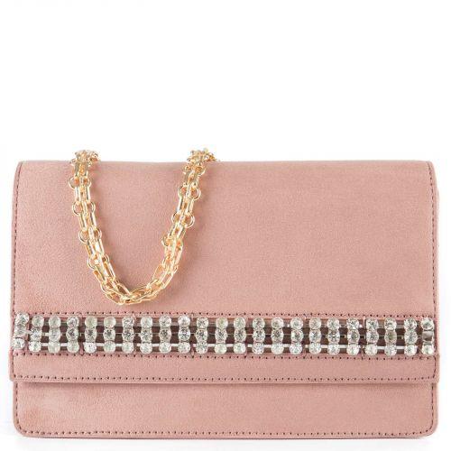 Pink shoulder bag with rhinestones