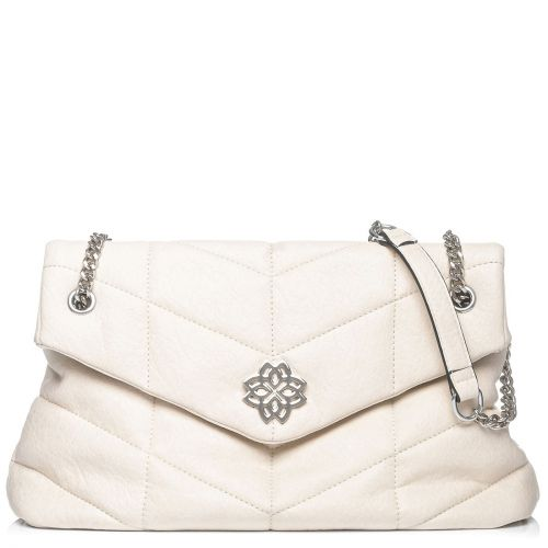 White quilted shoulder bag