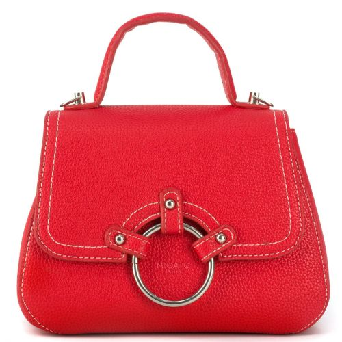 Red handbag with a metal buckle