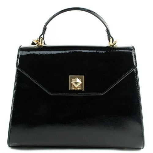 Black patent handbag with flap