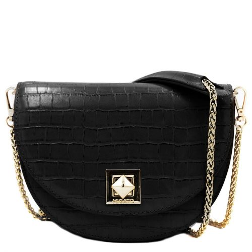 Black croco textured crossbody bag