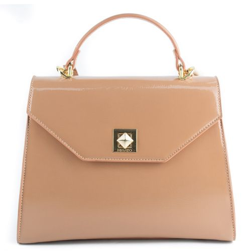 Beige patent handbag with flap