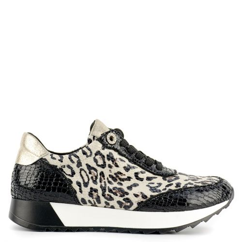 Black and white snakeskin sneaker