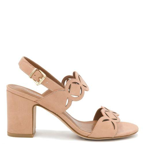Pink sandal with laser-cut design