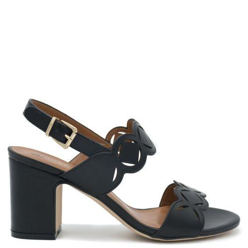Black sandal with laser-cut design