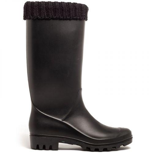 Black rain boot with collar