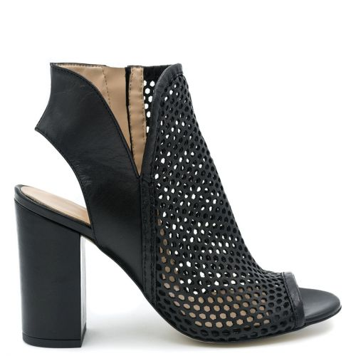 Black leather peep toe low cut bootie