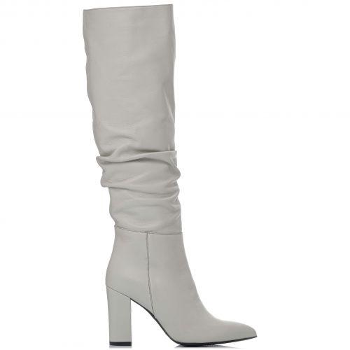 Λευκή δερμάτινη μπότα