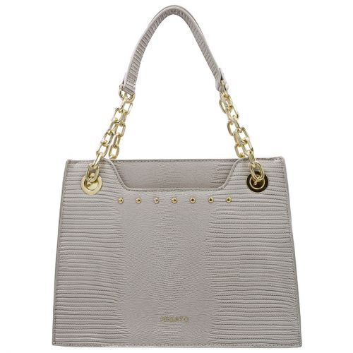 Beige lizard textured shoulder bag