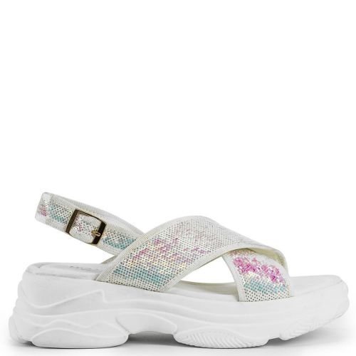 White slide sandal with sequins