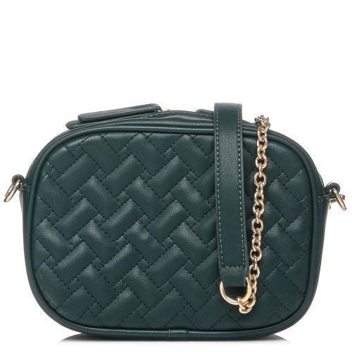 Πράσινη καπιτονέ τσάντα crossbody