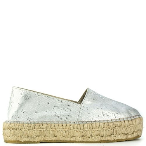 Silver leather espadrille