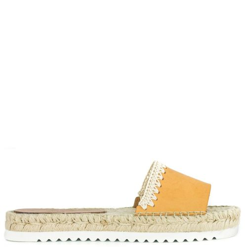 Camel leather espadrille