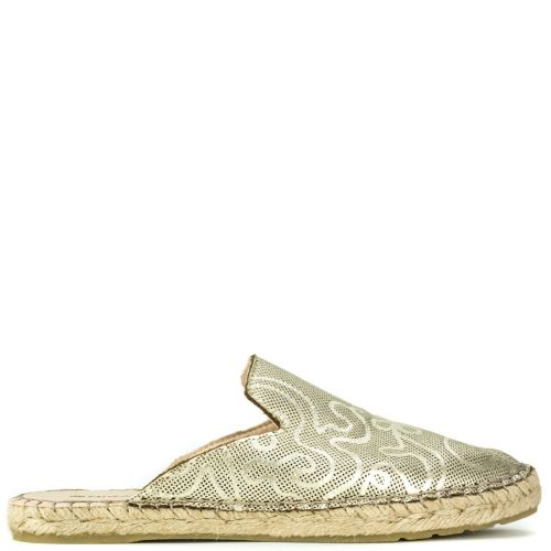 Gold leather mule espadrille