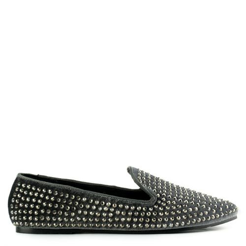 Grey velvet with loafer with rhinestones
