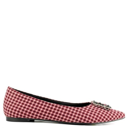 Red checked print ballet flat