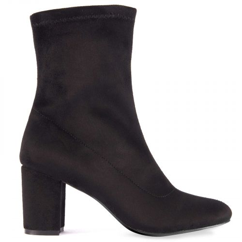 Black high heel bootie in suede