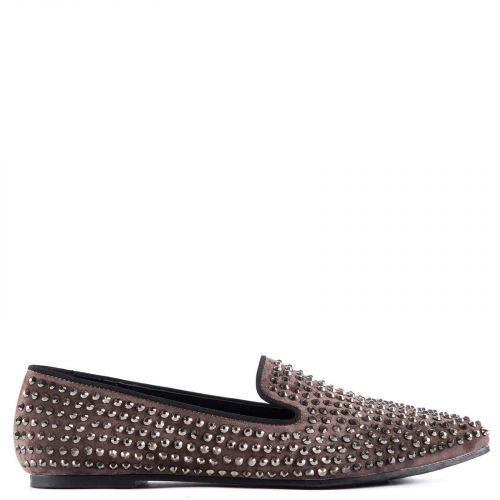 Taupe loafer with rhinestones