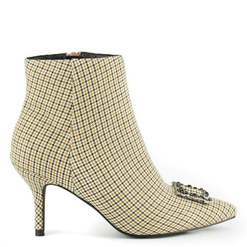 Yellow checked print high heel bootie