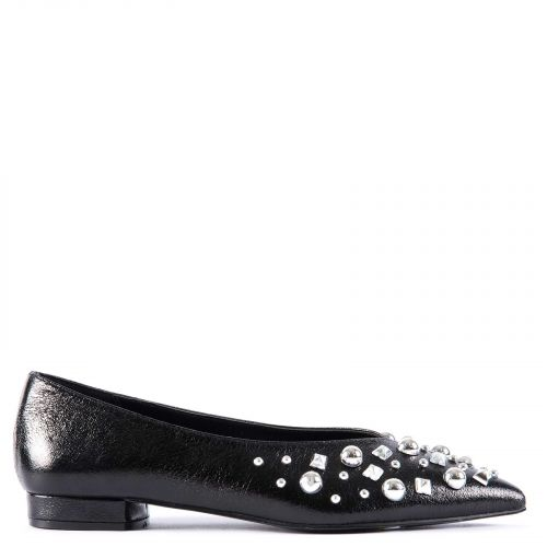 Black ballet flat with studs