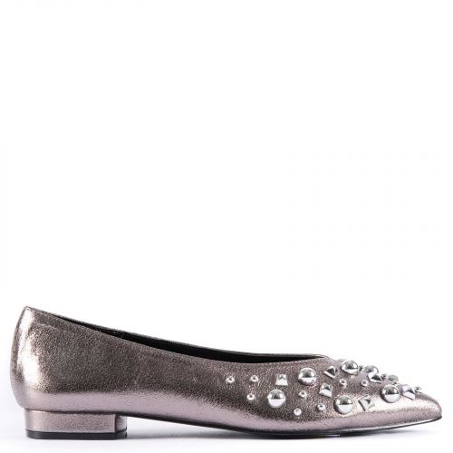 Pewter ballet flat with studs