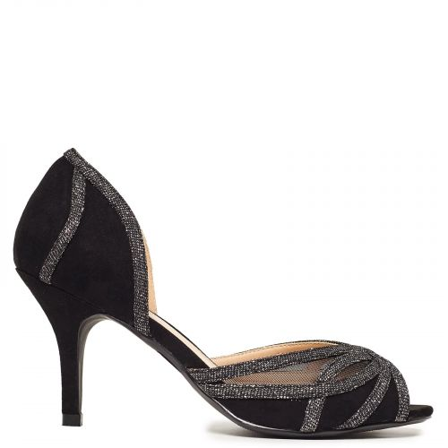 Black peep-toe pump