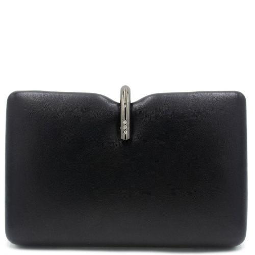 Μαύρο clutch με μεταλλικό κούμπωμα