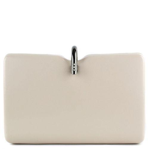 Μπεζ clutch με μεταλλικό κούμπωμα