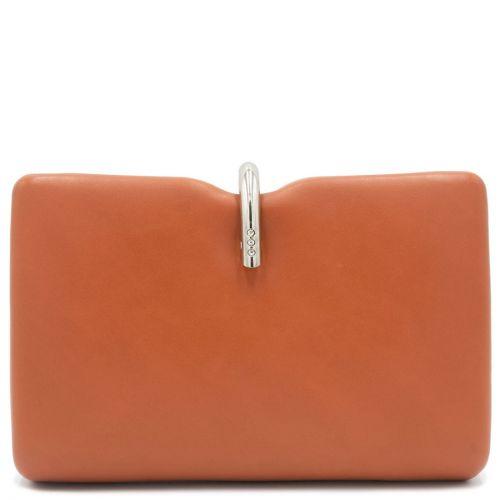 Orange clutch with metallic switch