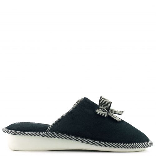 Black  slipper with bow
