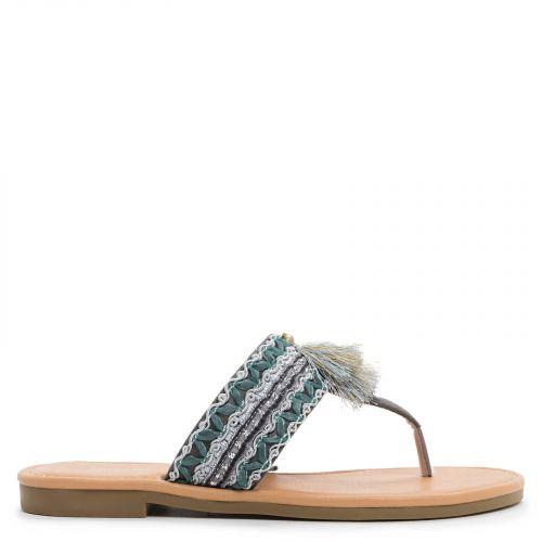 Grey sandal with tassels